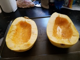 Spaghetti squash before cooking
